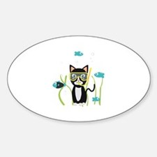 Underwater diving cat with fish Decal