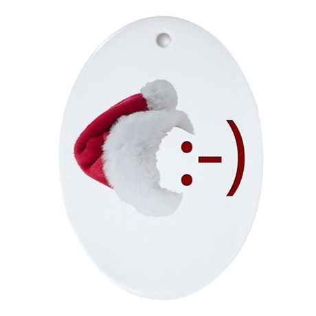 Smiley Emoticon - Santa Hat Oval Ornament