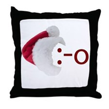 Oh! Emoticon with Santa Hat Throw Pillow
