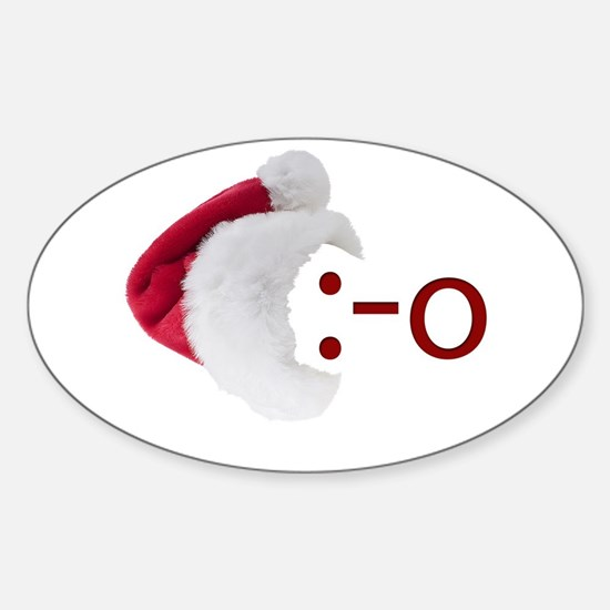 Oh! Emoticon with Santa Hat Oval Decal
