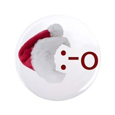 "Oh! Emoticon with Santa Hat 3.5"" Button"