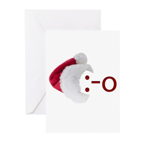 Oh! Emoticon with Santa Hat Greeting Cards (Pk of