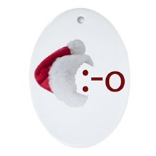 Oh! Emoticon with Santa Hat Oval Ornament