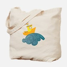 Boat On Wave Tote Bag