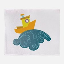 Boat On Wave Throw Blanket