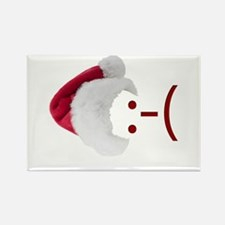 Frown Emoticon in Santa Hat Rectangle Magnet