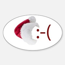 Frown Emoticon in Santa Hat Oval Decal