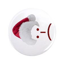 "Frown Emoticon in Santa Hat 3.5"" Button"