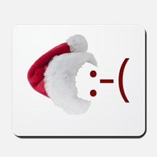 Frown Emoticon in Santa Hat Mousepad