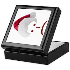 Frown Emoticon in Santa Hat Keepsake Box