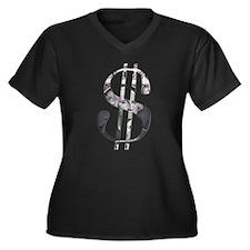 US Dollar Sign | Women's Plus Size V-Neck Dark T-S