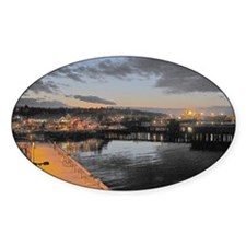 Port Angeles at Night Oval Decal