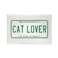 Massachusetts Cat Lover Rectangle Magnet