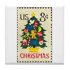 Funny Christmas stamp Tile Coaster