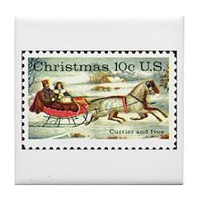 Cute Christmas stamp Tile Coaster