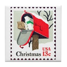 Unique Christmas stamp Tile Coaster