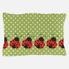 Ladybugs on Green and White Polka Dots Pillow Case