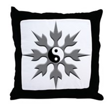 Yin Yang Throwing Star Throw Pillow