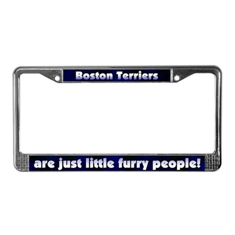 Furry People Boston Terrier License Plate Frame
