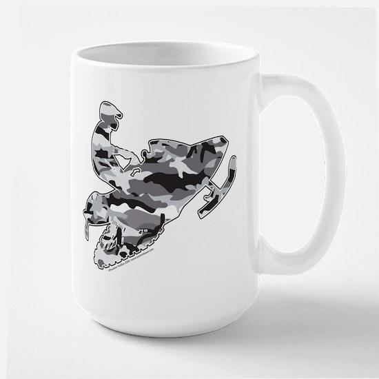 Camouflage Grey Snowmobiler Large Mug