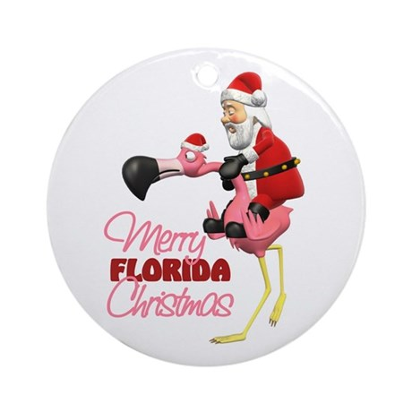 Merry Florida Christmas Ornament (Round)