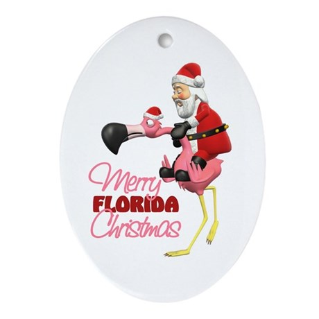 Merry Florida Christmas Oval Ornament