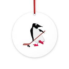 Hockey Penguin Ornament (Round)