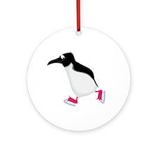 Ice Skating Penguin Ornament (Round)