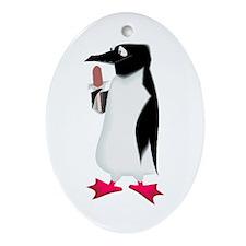 Popsicle Penguin Oval Ornament