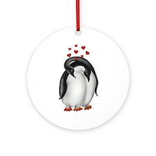Penguin Lovebirds Ornament (Round)