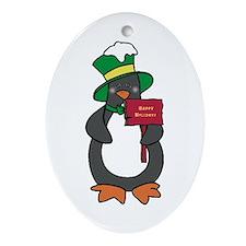 Happy Holidays Penguin Oval Ornament