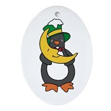 Penguin And The Moon Oval Ornament