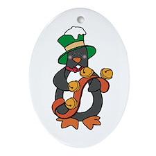 Jingle Bells Penguin Oval Ornament