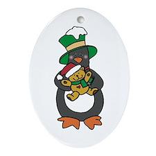 Teddy Bear Penguin Oval Ornament