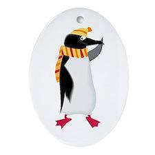 I Love Winter Penguin Oval Ornament