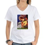 Angel3/Shih Tzu (P) Women's V-Neck T-Shirt
