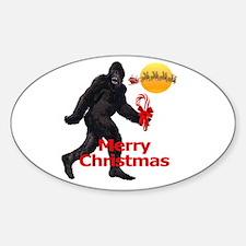 Bigfoot believes in Santa Claus Oval Decal