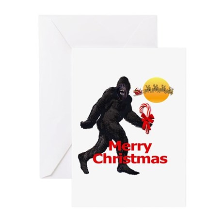 Bigfoot believes in Santa Claus Greeting Cards (Pk