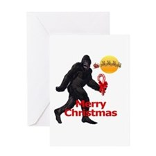 Bigfoot believes in Santa Claus Greeting Card