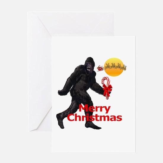 Bigfoot believes in Santa Claus Greeting Card