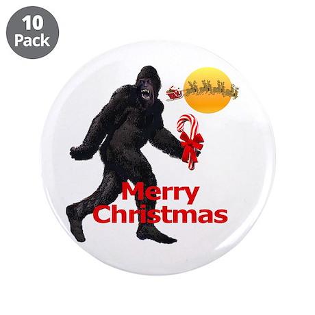 "Bigfoot believes in Santa Claus 3.5"" Button (10 pa"