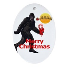 Bigfoot believes in Santa Claus Oval Ornament
