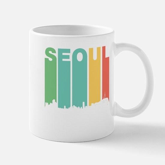 Retro Seoul South Korea Skyline Mugs