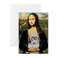 Mona Lisa/Shih Tzu (P) Greeting Cards (Pk of 20)