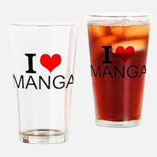I Love Manga Drinking Glass