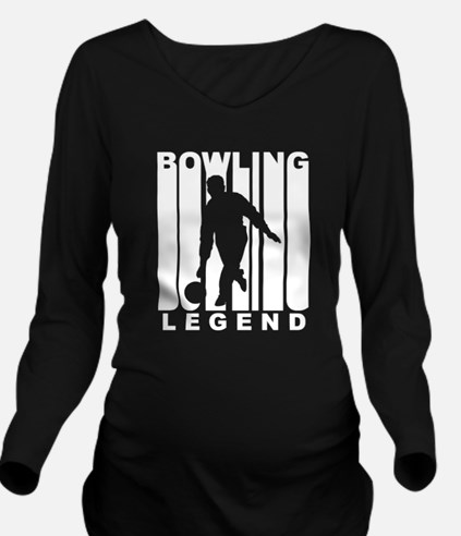 Retro Bowling Legend Long Sleeve Maternity T-Shirt