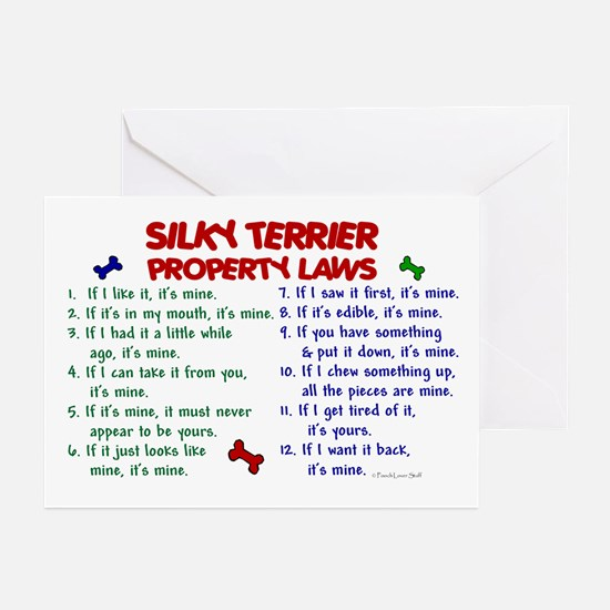 Silky Terrier Property Laws 2 Greeting Cards (Pk o