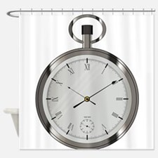 Silver Pocket Watch Shower Curtain