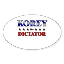 KOREY for dictator Oval Decal
