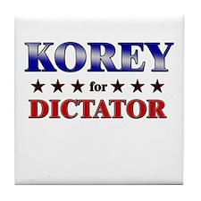 KOREY for dictator Tile Coaster